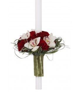 Lumanari de nunta cu aranjament floral exotic, realizat din cupe de orhideea alba si trandafiri regal. O adevarata declaratie de stil ! Lumanare nunta 13 trandafiri rosii, 4 cupe orhidee alba.