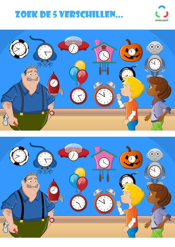 Ambrasoft - Knutselplaat voor kinderen van Tom en Tamira - Zoek de 5 verschillen - Klokkenmaker