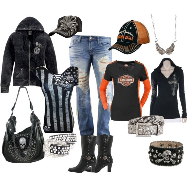 A fashion look from February 2014 featuring BKE tops, Harley-Davidson boots and Harley-Davidson hats.