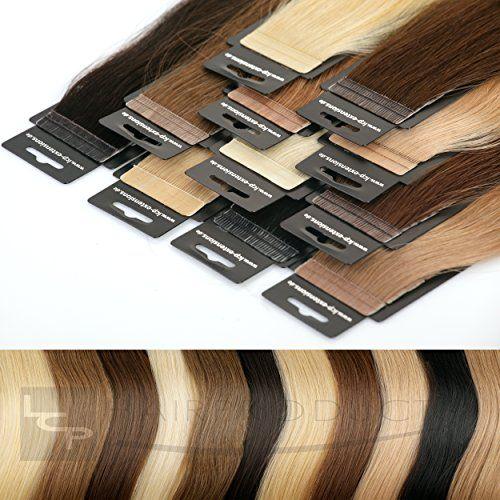 Tape In Echthaar Extensions 100% Virgin Remy - höchste Qualitätsstufe 50 cm, Farbe:#12b helle kastanie
