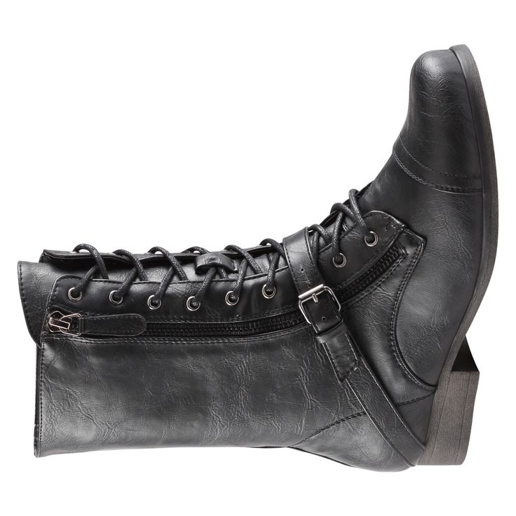 KLIEN Description: Laced Material: Synthetic Sole: Synthetic DCS: 13-02-01 If you want to add some edge to your look, then these are the boots for you. - Block heel. - Single strap with buckle. - Side zipper enclosure. - Textile lining. - Heel Height: 1 in. - Platform Height: 0.5 in. - Shaft Height: 8.25 in.