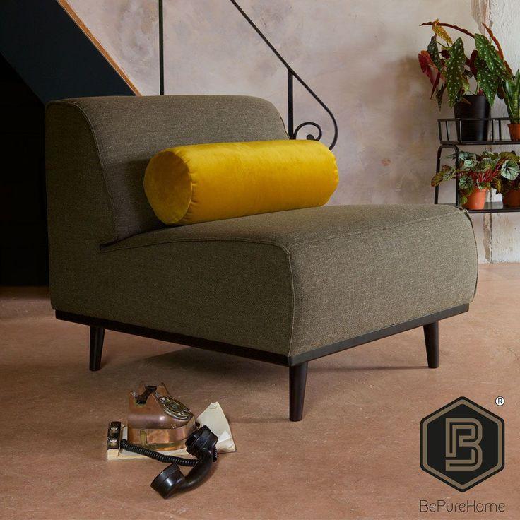 BEPUREHOME   Nieuw bij Trendhopper: fauteuil Statement van BePureHome. Combineer deze fauteuil met de bijpassende bank en hocker. Verkrijgbaar in diverse kleuren en soorten stof. Doordat deze fauteuil geen armleuningen heeft oogt deze extra ruimtelijk en is hij ideaal voor in kleine ruimtes.