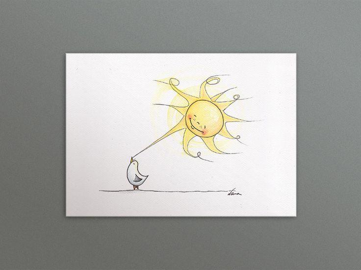 """Postkarten - Postkarte """"Möve + Sonne"""" - ein Designerstück von kleineNana bei DaWanda"""
