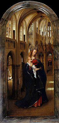 Jan Van Eyck, La vierge dans une église, 1438-40, huile sur panneau, 31x14 cm, Gemäldegalerie, Berlin  #JanVanEyck