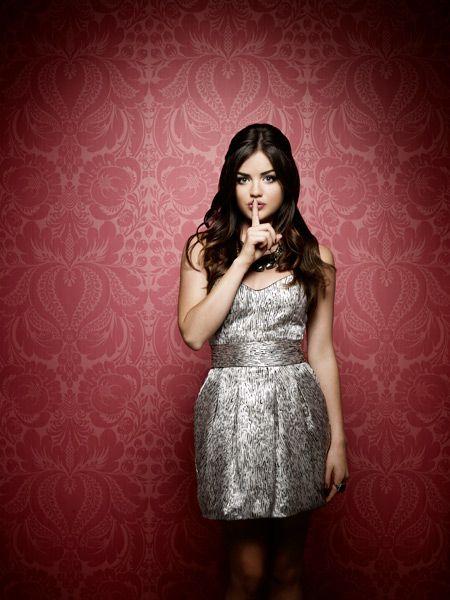 Lucy Hale from pll in a cute pattern, shining silver dress