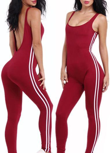 Red Sporty Sleeveless Scoop Neck Open Back Bodycon Jumpsuit With Varsity Side Stripes
