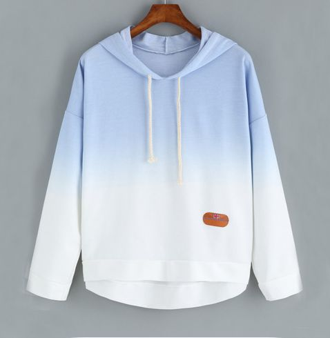 """Fashion hooded fleece gradient color pullover Coupon code """"cutekawaii"""" for 10% off"""