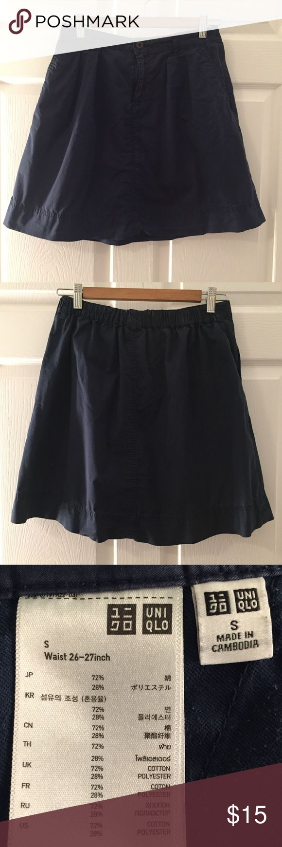 Uniqlo skirt Uniqlo skirt in navy color. Used but in good condition. Can we worn casually or as work wear. Pair with a blouse, tank, or tshirt. Great versatile color and can be used spring, summer, or fall. pair it with a cognac bag. Check out the purses in my closet too. ✨Bundles of 3+ items get 15% off! Uniqlo Skirts