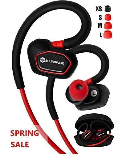 Bluetooth Earbuds. SoundWhiz Spark Best Wireless Earbuds. Stable Fit For Running Cycling Gym Yoga Fitness. Wireless Headset with Mic. Red