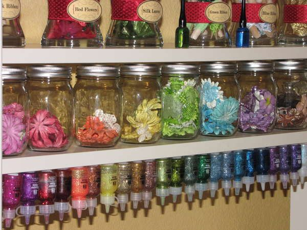velcro dots to underside of shelf and on bottle bottoms for craft items with small tubes like glitter and acrylic paint.