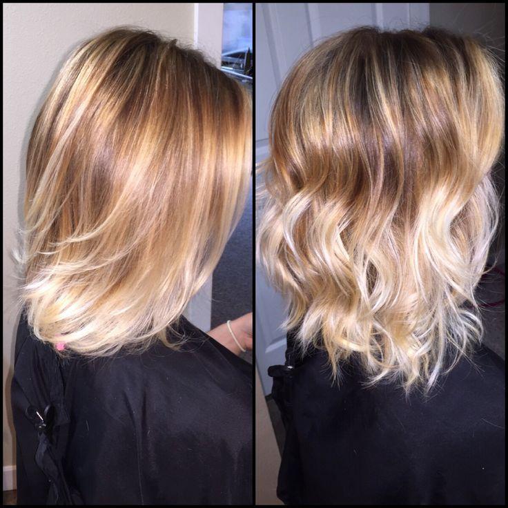 Balayage blonde highlights  Straight versus curled  by Jennifer hong   Www.facebook.com/boredatwork228   #blonde #balayage