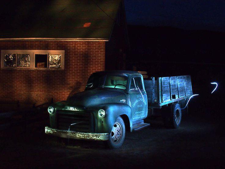 Light Painting a truck at Atlas Coal Mines near Drumheller, Alberta.