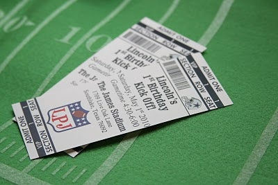 Party invitations that look like football tickets!