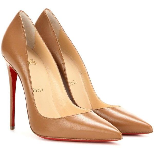 Christian Louboutin So Kate 120 Leather Pumps found on Polyvore featuring shoes, pumps, heels, обувь, brown, brown pumps, brown leather pumps, heel pump, christian louboutin shoes and christian louboutin