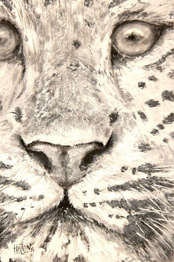 Acrílico con pincel y espátula para la exposición de fin de curso - El leopardo mira.  Acrylic with brush and spatula for the exhibition of the course -  Leopard Look. HMZEN'14