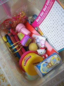 website calls them restaurant kits, but they would be awesome to just keep in the car for lots of uses, restaurants, friends houses who dont have kids... fill with mcdonalds type toys, coloring stuff, stickers, and misc.