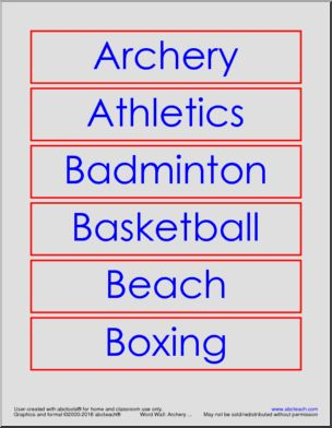 Word Wall: 2016 Summer Olympics - Sports - <p>Word Wall of 2016 Summer Olympic sports.</p>