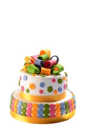 Dětský dort č. 15 Dvoupatrový dětský dort, o rozměrech 24 cm a 18 cm, obalený fondánem a dozdobený fondánovou mašlí, fondánovými puntíky a saténovou stuhou.