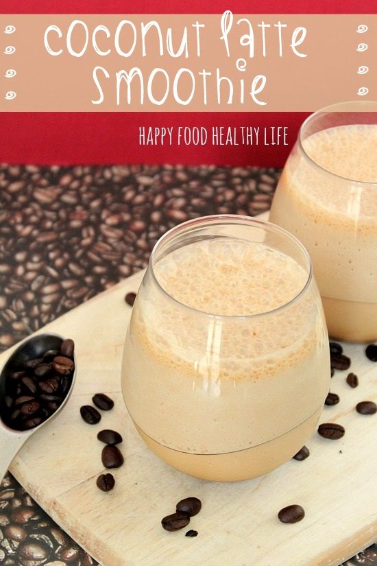 Coconut Latte Smoothie. A relatively healthy drink that will give you a jolt of energy mid-day. // Happy Food Healthy Life