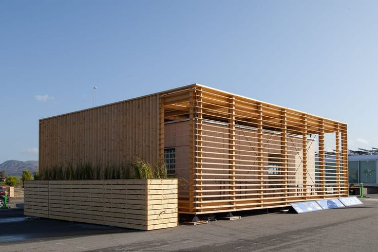 """The lattice """"second skin"""" shades the timber walls of the AIR house by Czech Technical University..."""