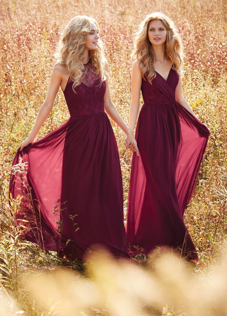 (Right) Burgundy chiffon A-line bridesmaid gown, Burgundy lace bodice with draped chiffon detail at V-neckline, natural waist with gathered skirt.