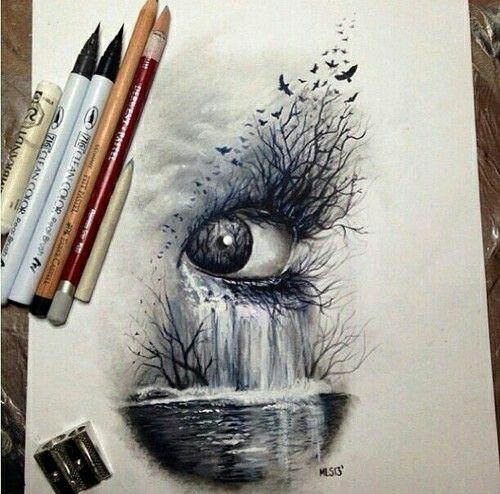 Hier heb ik me geconcentreerd op de schaduwen. Schaduw is belangrijk bij het tekenen van een realistisch oog. Ik vond dit oog erg mooi gemaakt en het lijkt surrealistisc. Ik ben gek op surrealisme omdat het er diepzinnig en mysterieus uitziet. Dit inspireert mij om het oog er zo realistisch mogelijk uit te laten zien met behulp van schaduwen