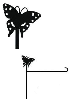 Butterfly Garden Stand Finial This metal garden stand finial is made to fit our Welcome Garden Flag Stand (code XP23945) and has a long-lasting powder coated black finish. It's one of a variety of interchangeable designs to celebrate seasonal, holiday and special occasions! Size is approximately 6 inches by 6 inches.  @justforfunflags