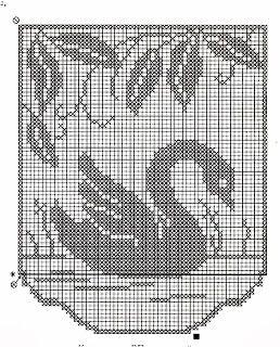 Cisnes en cortinas de ganchillo Gráfico 4                              …