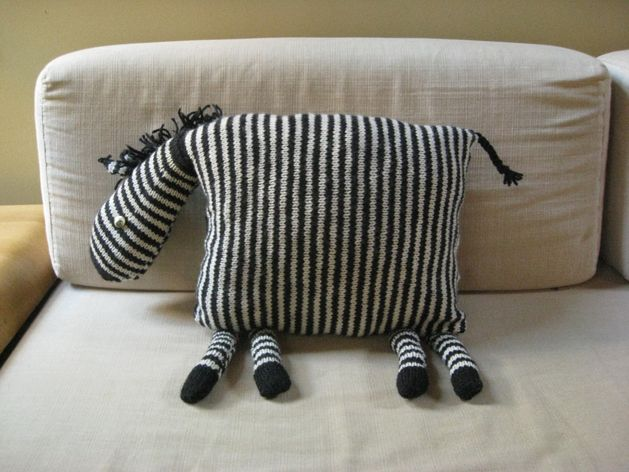 Zebra Pillow from Vogue Knitting Quick Gifts