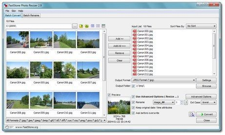 FastStone Photo Resizer is an image converter and renaming tool that intends to enable users to convert, rename, resize, crop, rotate, change color depth, add text and watermarks to images in a quick and easy batch mode. Drag and Drop mouse operation is well supported.