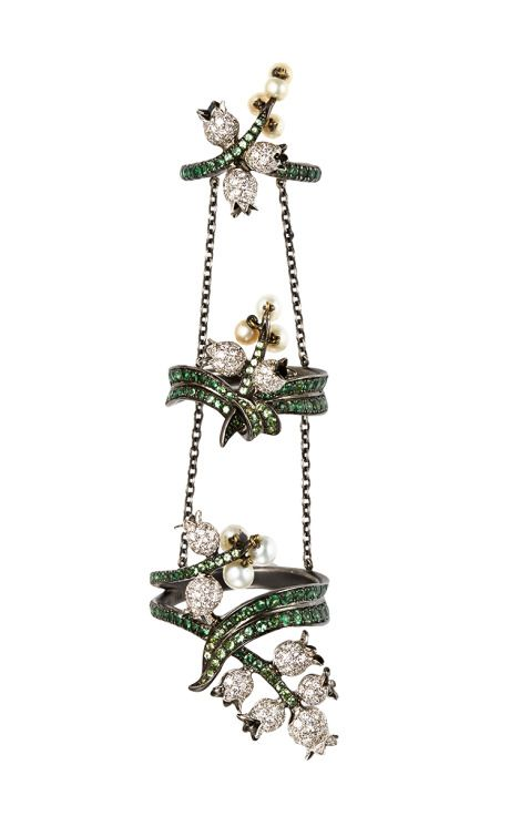 18K Black Gold Harem King Ring With Diamonds, Pearls And Tsavorites by Lydia Courteille for Preorder on Moda Operandi
