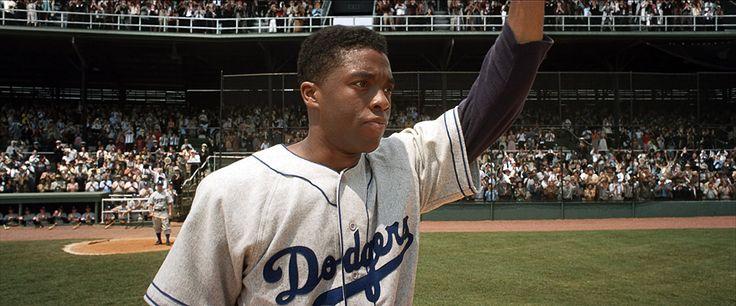 Chadwick Boseman as Jackie Robinson in 42 (2013)