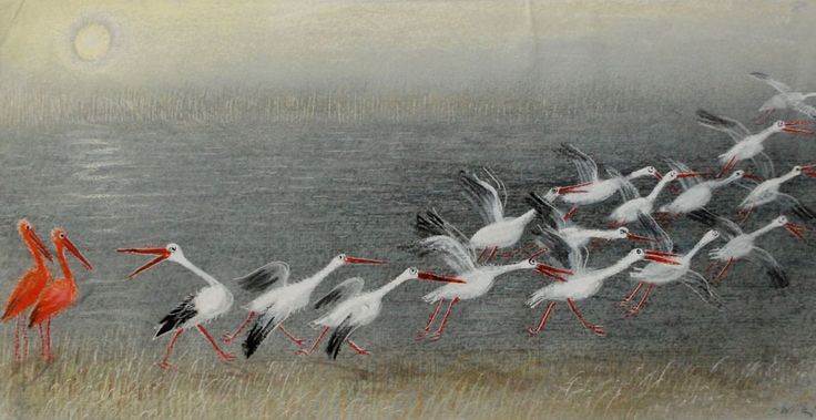 "by Józef Wilkoń for ""Die falschen Flamingos"" by Mischa Damjan"