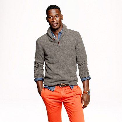 J.Crew - Lambswool shawl henley sweater