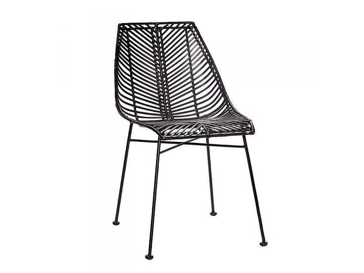 Hubsch zwarte rotan stoel met metalen onderstel