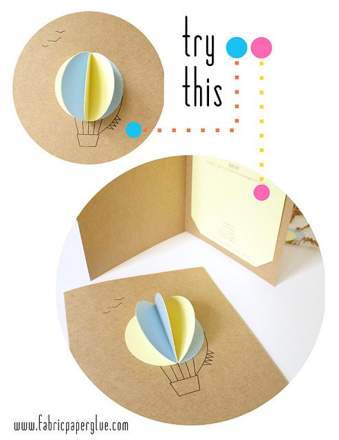 Hot Air Balloon Invite by fabricpaperglue, via Flickr