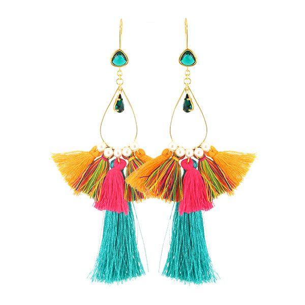Boucles d'oreilles Pompons Multicolores perles nacrées