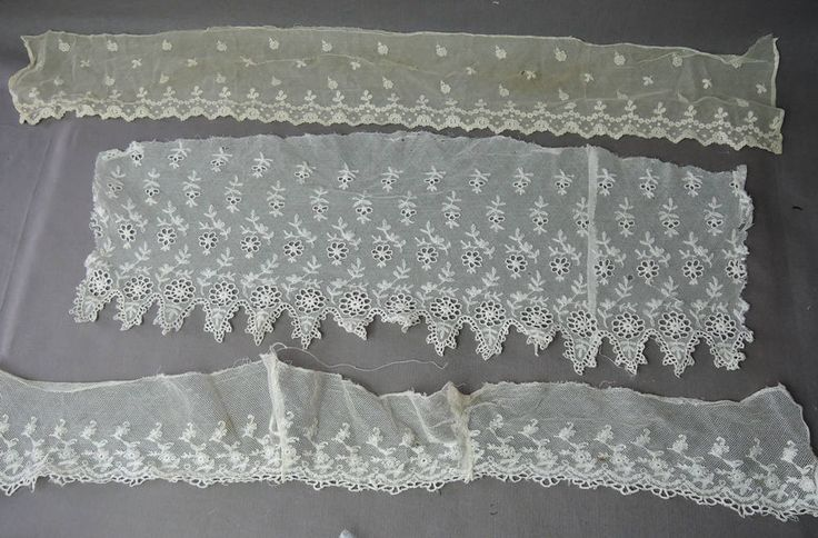 3 Pieces Antique Lace Early 1900s, Embroidered Cotton Tulle, Vintage Edwardian Clothing remnants