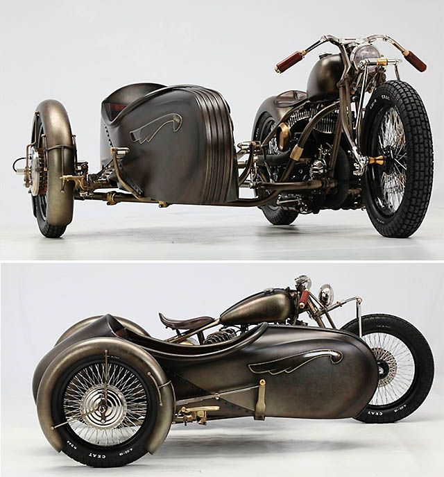 Shades of steampunk in this 1942 Harley-Davidson sidecar rig, created by Italian workshop Abnormal Cycles.