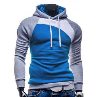 Just US$16.32 + free shipping, buy Grey and white and blue IZZUMI Raglan Sleeve Paneled Pullover Hoodie online shopping at GearBest.com.