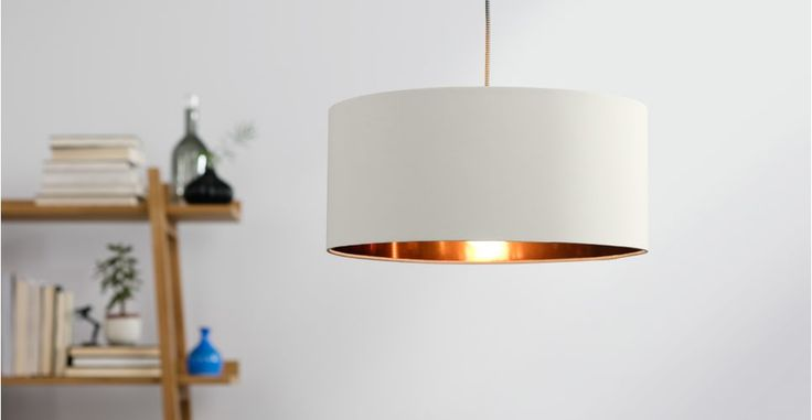 Hue Pendant Shade, White Clay & Copper | made.com