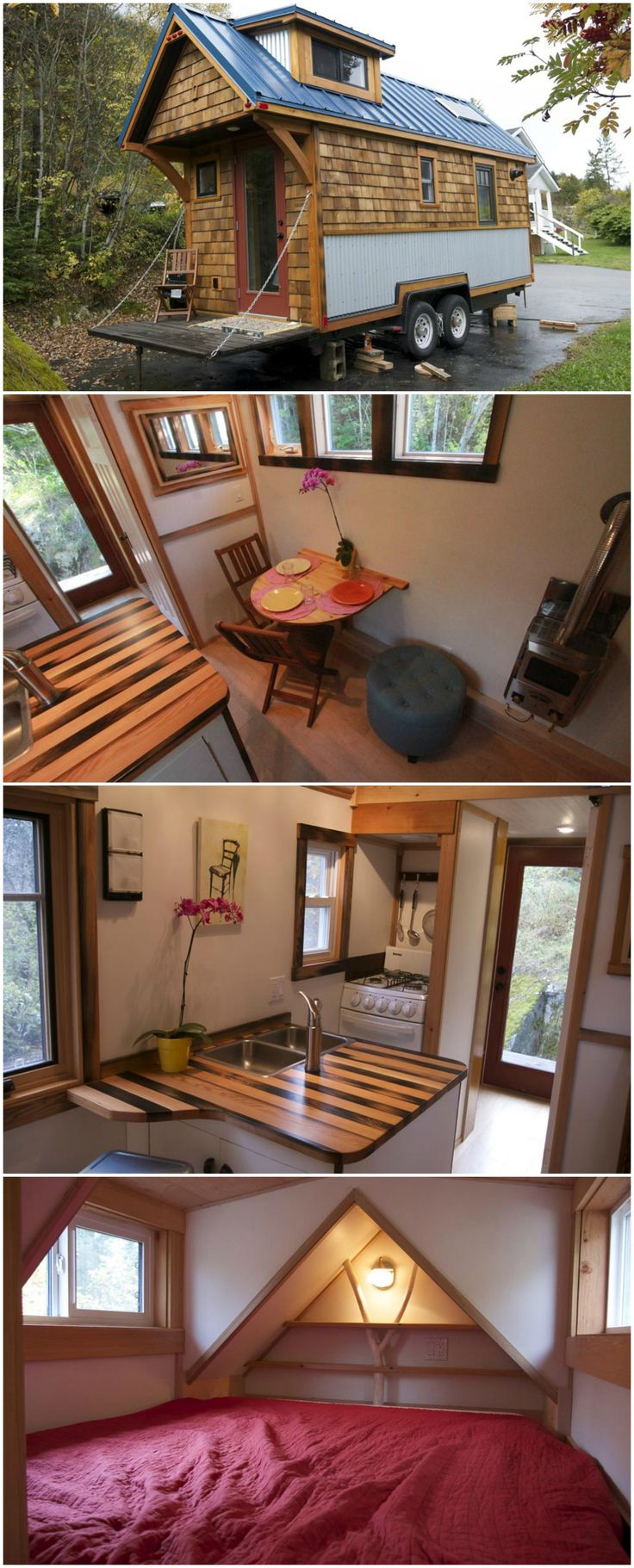 The Acorn House is a traditional style tiny house built by Nelson Tiny Houses.  The house is 135-square-feet on the main floor, plus it has a queen size sleeping loft and a storage loft.  Inside are Canadian maple floors, custom furniture built with reclaimed materials, and a fold down table. A full pantry, beautiful butcher block counter, and four burner stove are in the kitchen. A retractable loft ladder stays out of the way when not in use.