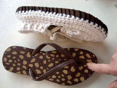 ADD RUBBER SOLES TO CROCHET SANDALS, how to make outdoor crochet sandals Video tutorial ☆•★Teresa Restegui http://www.pinterest.com/teretegui/★•☆