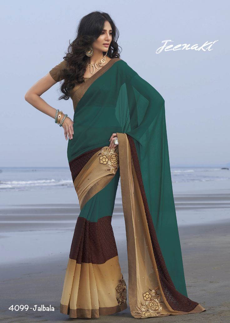 Rama-Brown Georgette Party Wear Saree With Brocade Blouse at Lalgulal.com Price :- 2,853/- inr. To Order :- http://goo.gl/TeKzZX To Order you Call or Whatsapp us on +91-95121-50402 COD & Free Shipping Available only in India.