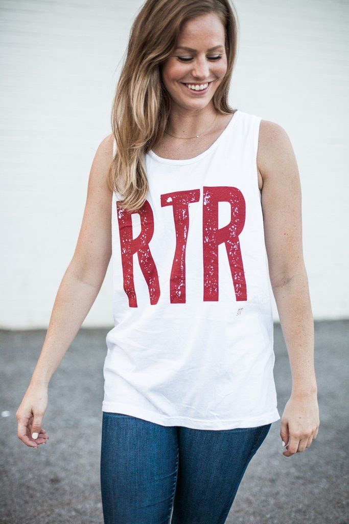 RTR = Roll Tide Roll Alabama game day tank Printed in the perfect crimson ink on a comfort colors white tank. Unisex sizing. Model is wearing a small.