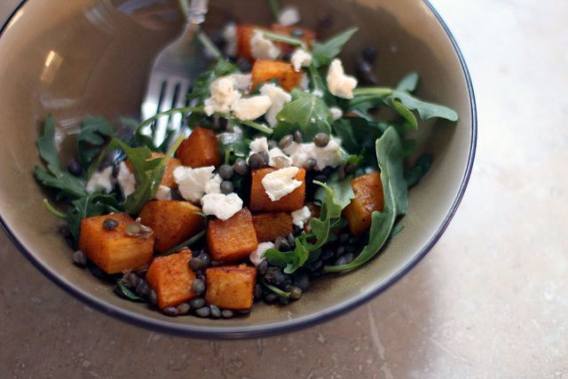 ... starter with butternut squash, arugula, goat cheese, and lentils