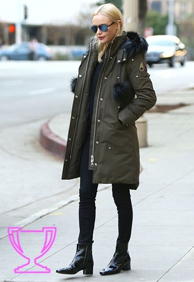 On craque pour la parka kaki de la jolie Kate Bosworth