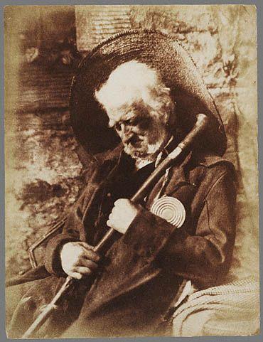 """John Henning as """"Edie Ochiltree"""", 1845-47. Salted paper print."""