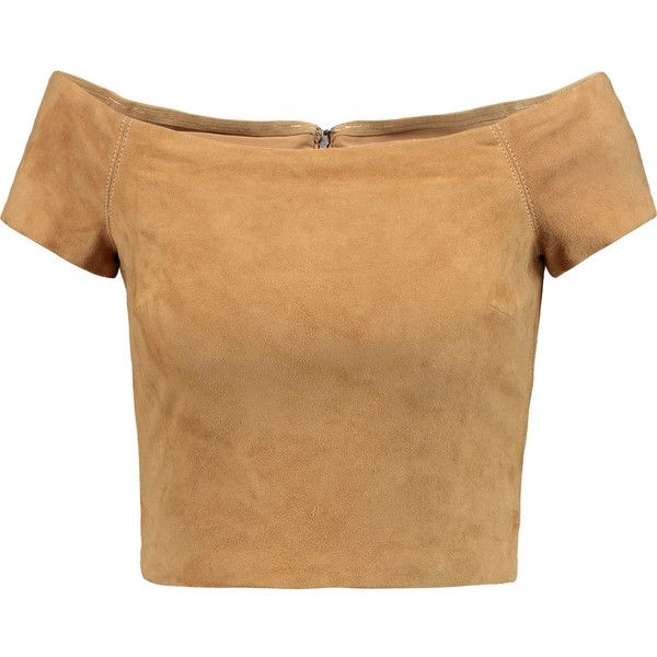 Alice + Olivia Gracelyn cropped off-the-shoulder suede top (£233) ❤ liked on Polyvore featuring tops, crop top, shirts, tan, off the shoulder tops, suede shirt, zipper crop top, crop shirt and off shoulder tops