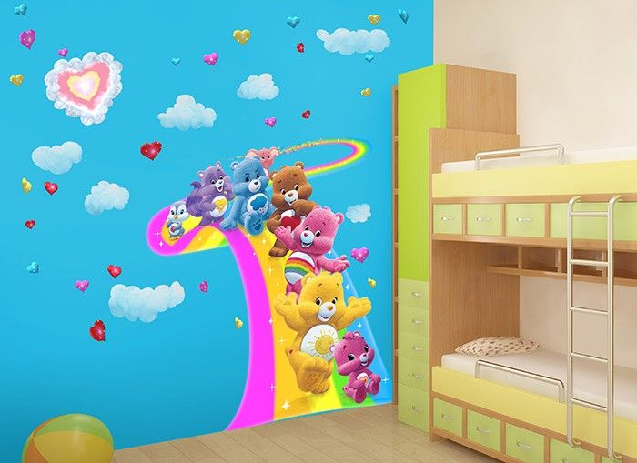 47 best snv bedroom ideas images on pinterest child room for Care bears wall mural